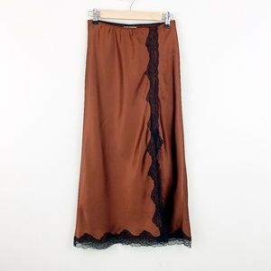 Topshop | Lace Trim Satin Bias Midi Skirt